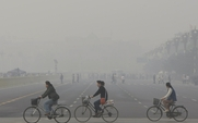 Aside beijing air pollution bike riders 1.12.13 by  miniharm