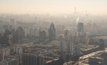 Aside 2b7r3xj beijing skyline with heavy air pollution