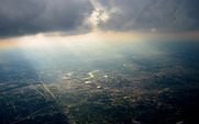 Aside city from plane with clouds 500 cc blake facey