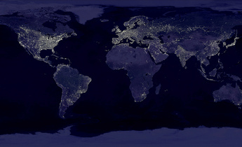 Aside earth at night