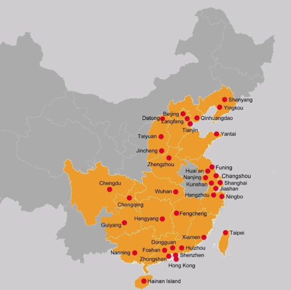Foxconn locations in Greater China, 1974-2016.