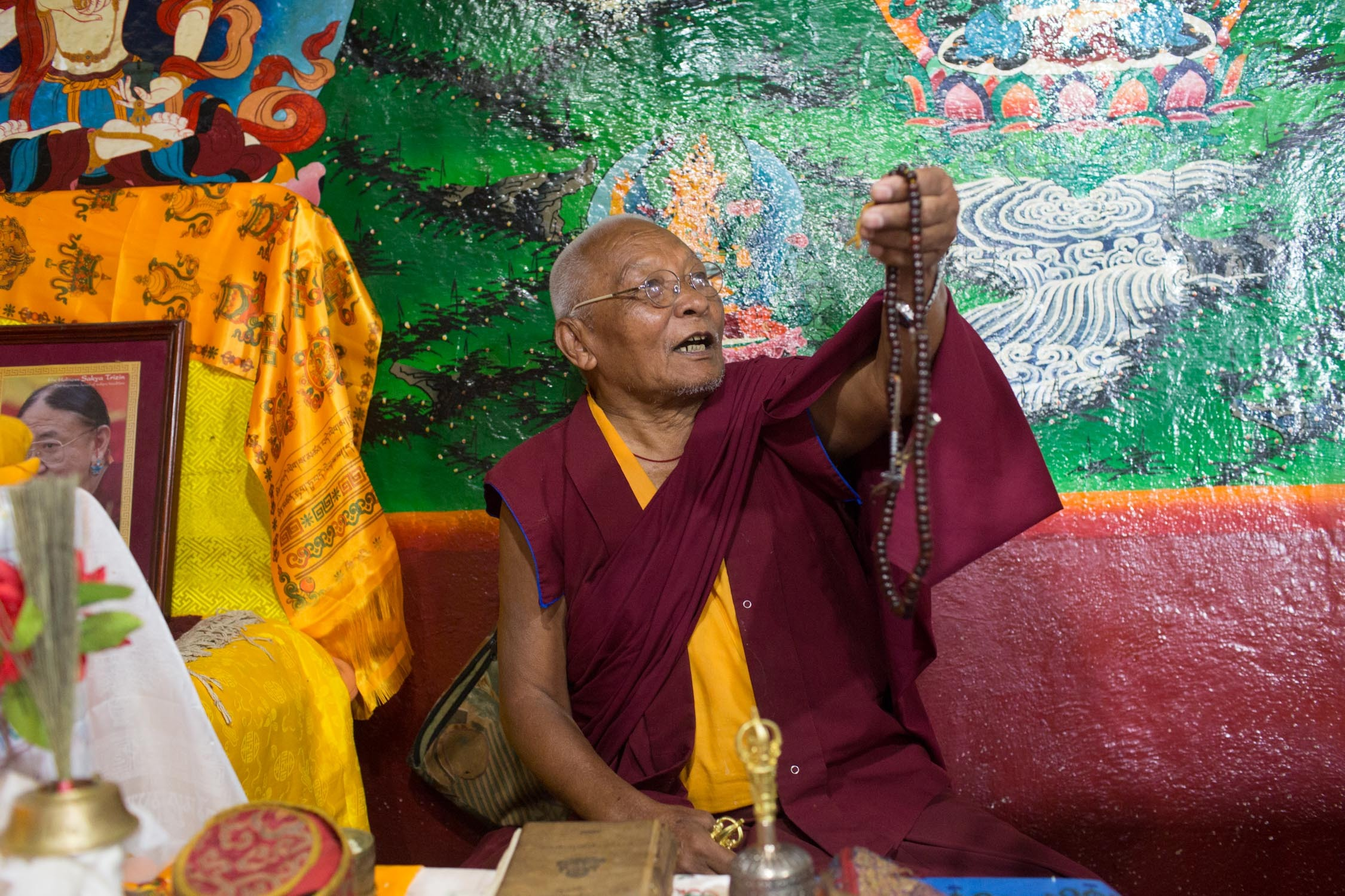 Guru Kunga Dupshang Lama of Awalokeshower Monastery explains the importance of the prayer beads in Buddhism.