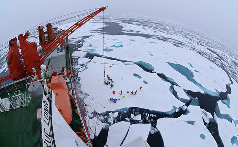 The Chinese icebreak Xue Long (Snow Dragon) in the Arctic Ocean
