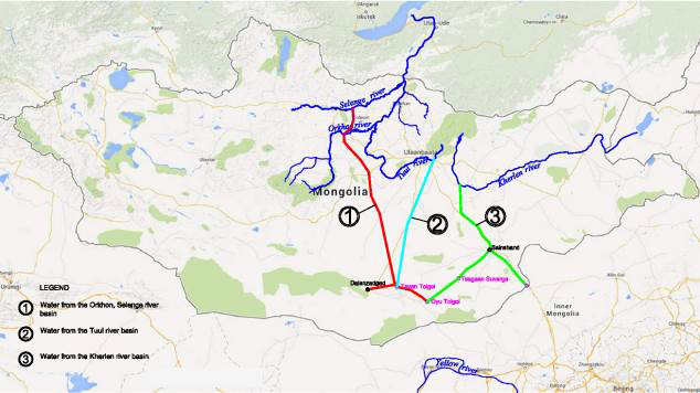 Proposal to divert water from several rivers in northern Mongolia, including the Selenga River