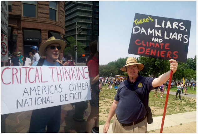 signs at the people's climate march with the text 'critical thinking, America's other national deficit' and 'There's liars, damn liars and climate deniers'