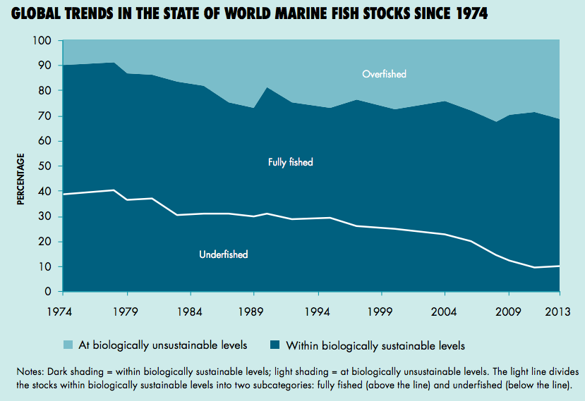 Global trends in the state of marine fish stocks, since 1974