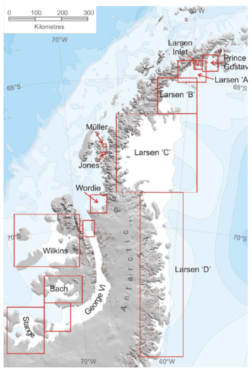 The ice shelves of the Antarctic peninsula. Note Larsen A and B have largely disappeared.