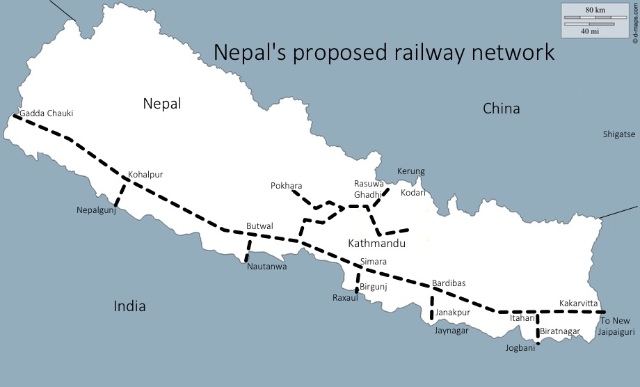 Nepal's proposed railway network