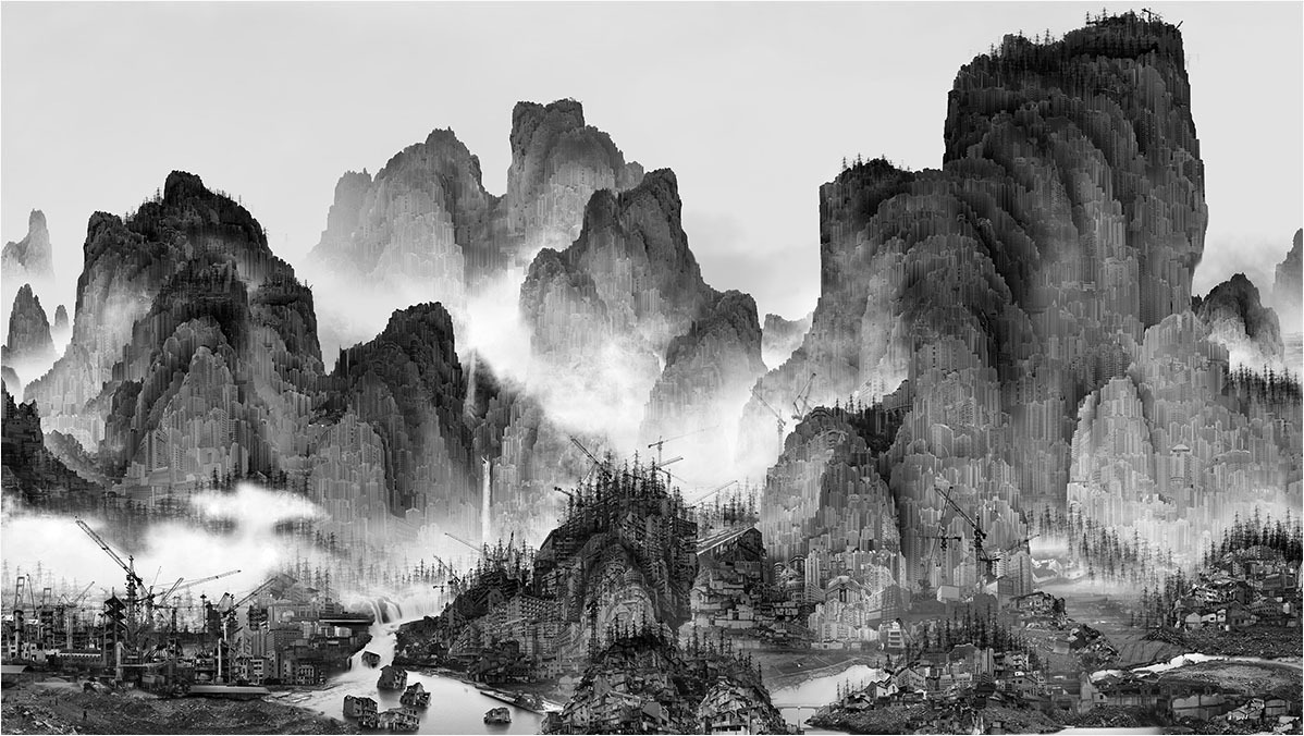Artificial Wonderland I - No.1 (part 1) 152 × 280 cm, Giclee print, by Yang Yongliang (Image: yangyongliang.com)