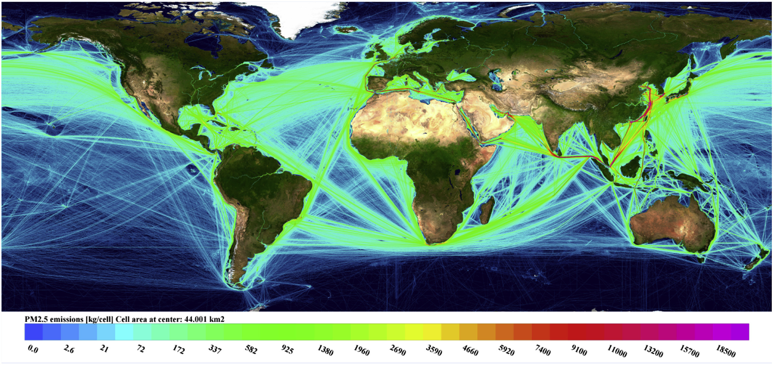 Geographical distribution of the modelled total PM2.5 emissions from shipping in 2015.