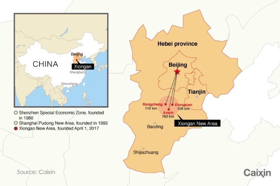 The location of China's new megacity - Xiong'an New Area