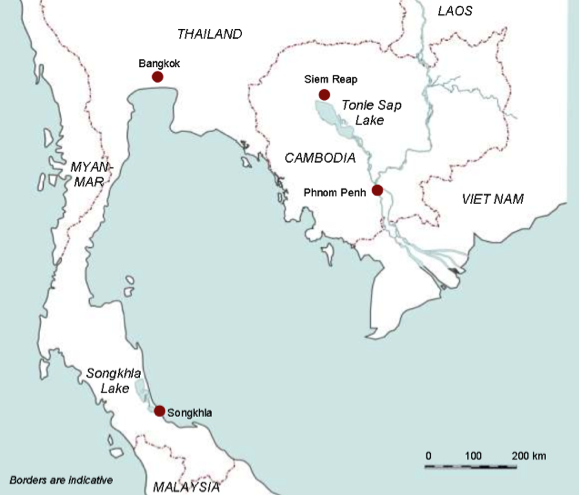 Locations of the Tonle Sap Lake and Songkhla Lake (Map: Mekong River Commission)