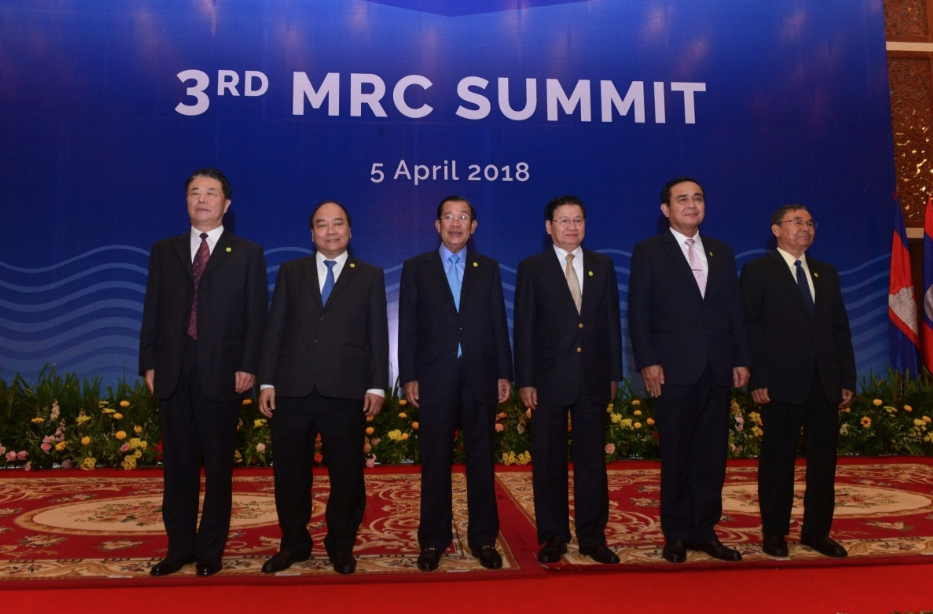 National leaders and ministers pose for a photo at the third summit of the Mekong River Commission (Image: Mekong River Comission)