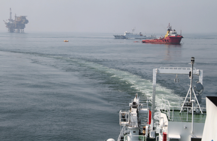 An SOA vessel continues 24-hour monitoring of the water near the Penglai 19-3 oil platform, November, 2011, five months after the oil leak. (Image by: SOA website.)