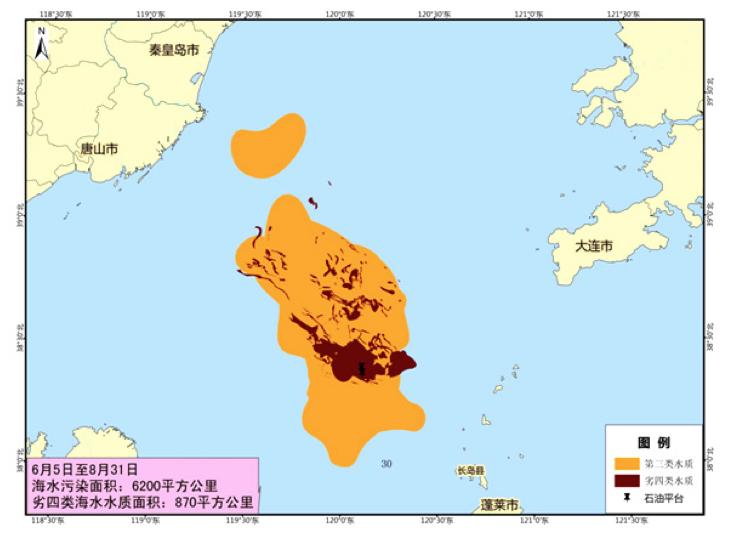 (官方认定的蓬莱19-3油田溢油事故海水污染范围。月坨岛位于地图左上方的唐山市近海群岛之中。图片来源:国家海洋局调查报告)