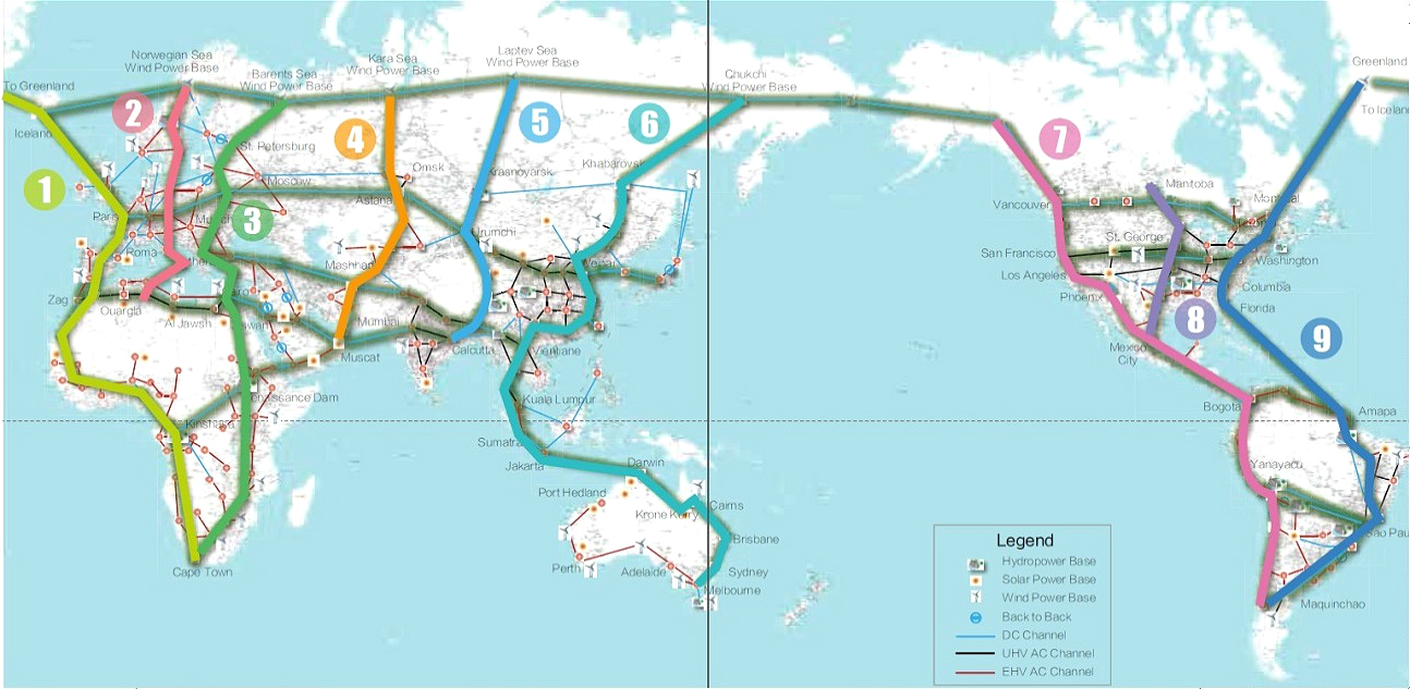 map of gei land and sea channels by 2070 source global energy interconnection backbone grid research geidco 2018