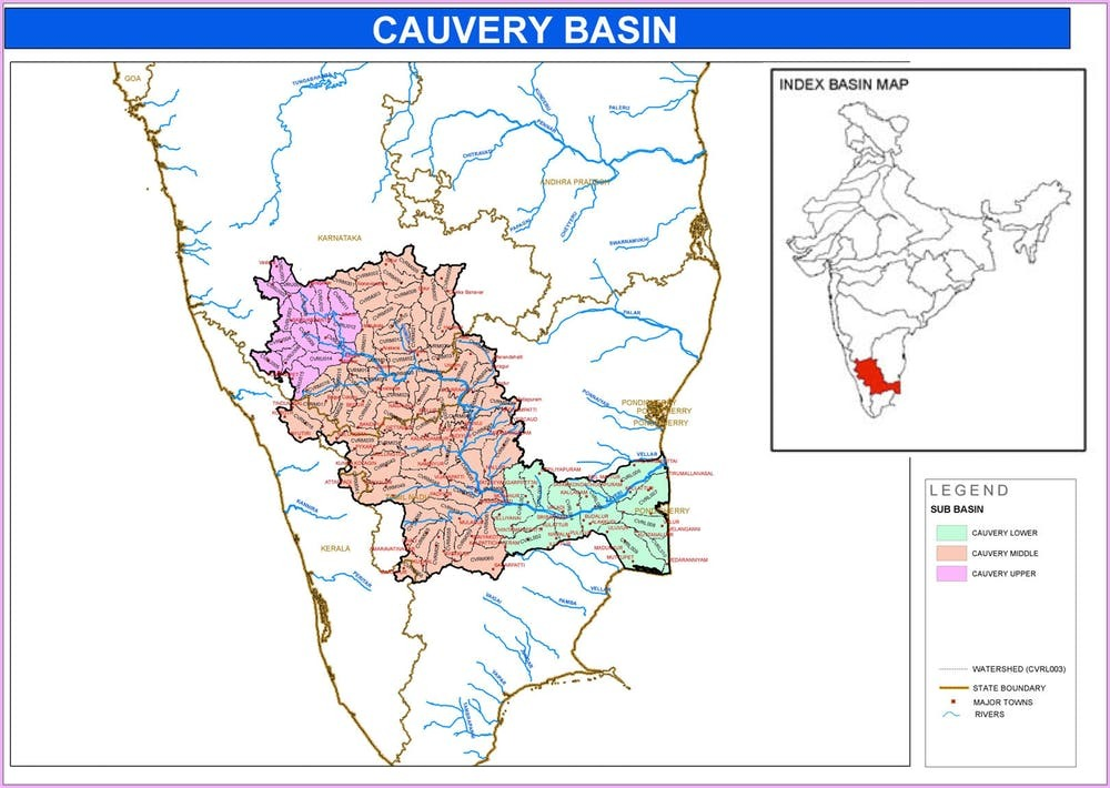 The Cauvery and its tributaries flow through the states of Karnataka, Kerala and Tamil Nadu.