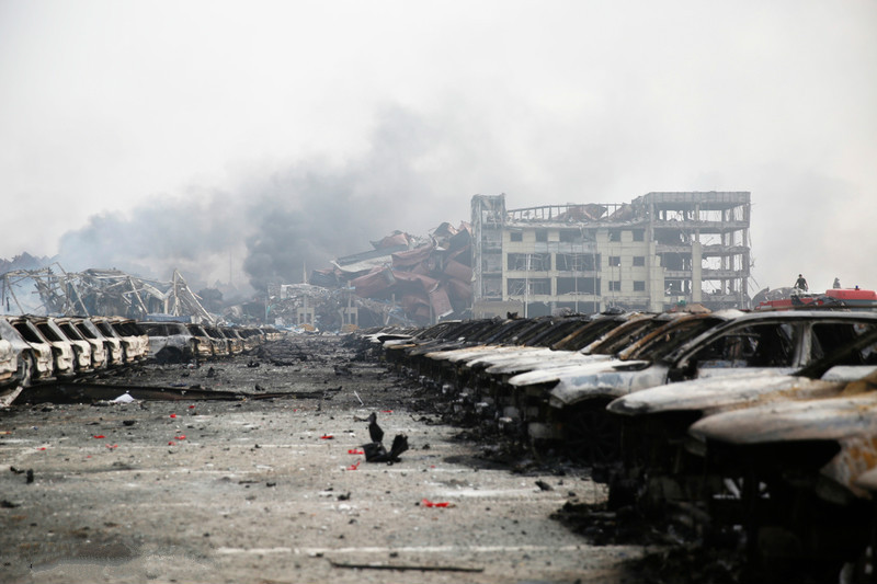 The aftermath of the 2015 chemical warehouse explosion in Tianjin