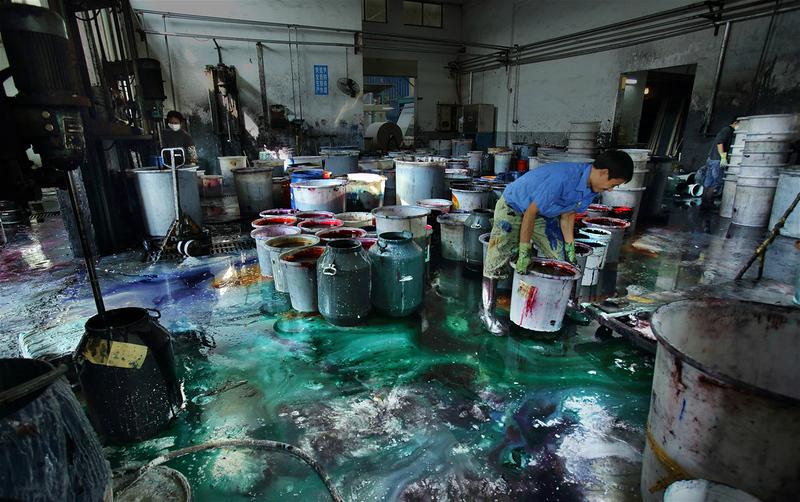 一家位于浙江绍兴的印染企业内景