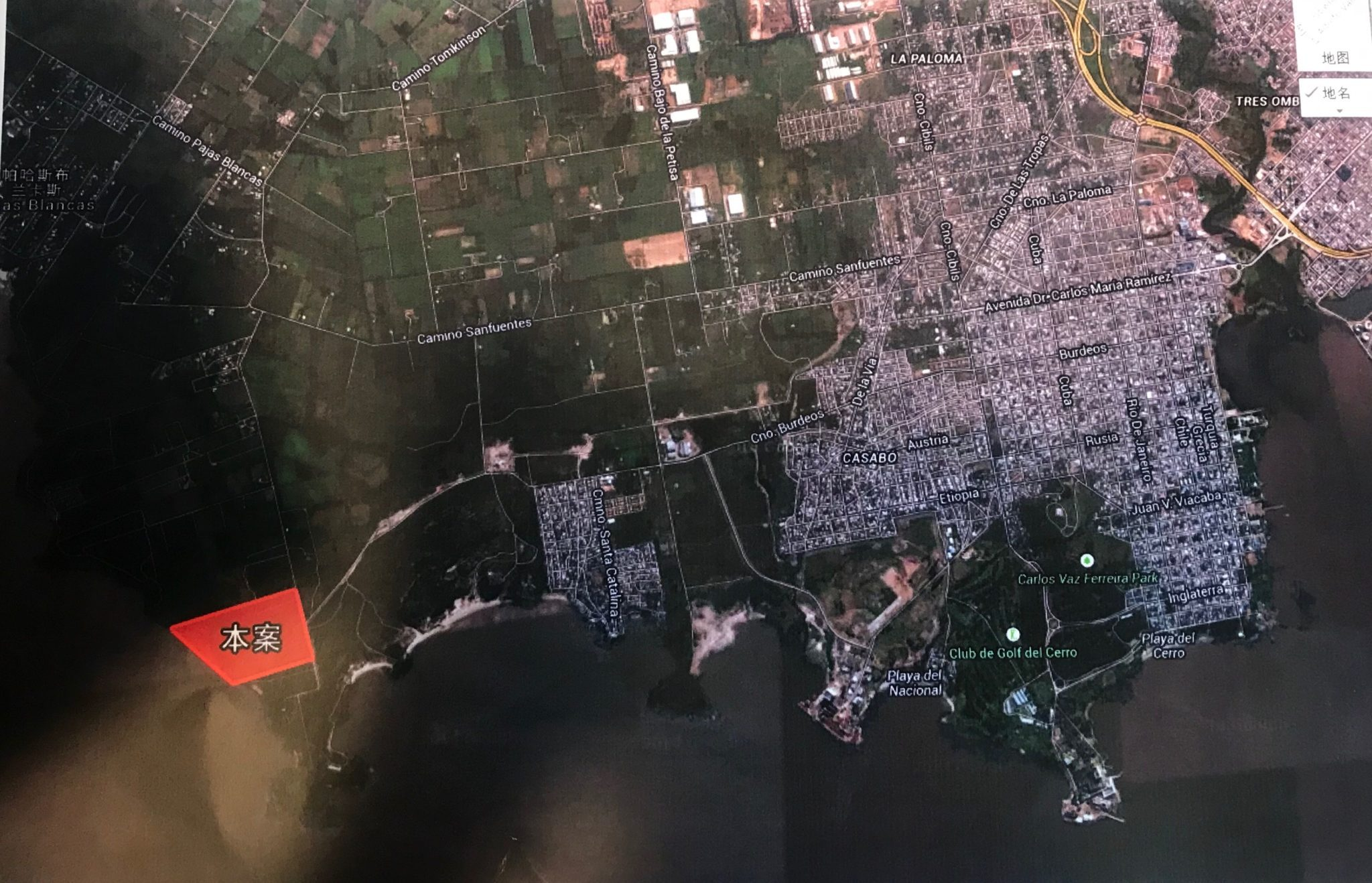"Plans show the port's location, marked ""project"" in Chinese (image: Fermín Koop)"