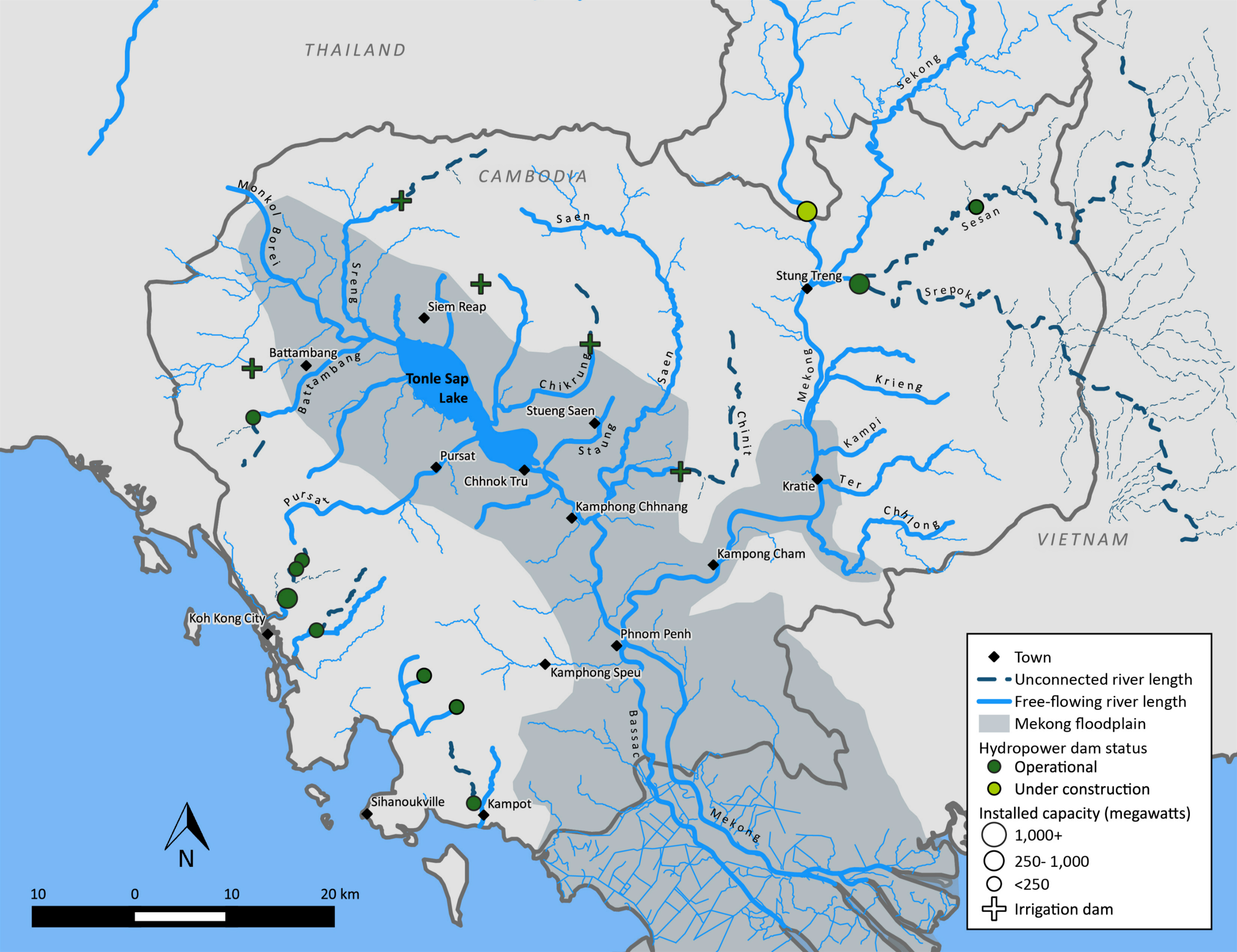 Map of the connectivity of the Tonle Sap and Mekong tributaries in Cambodia