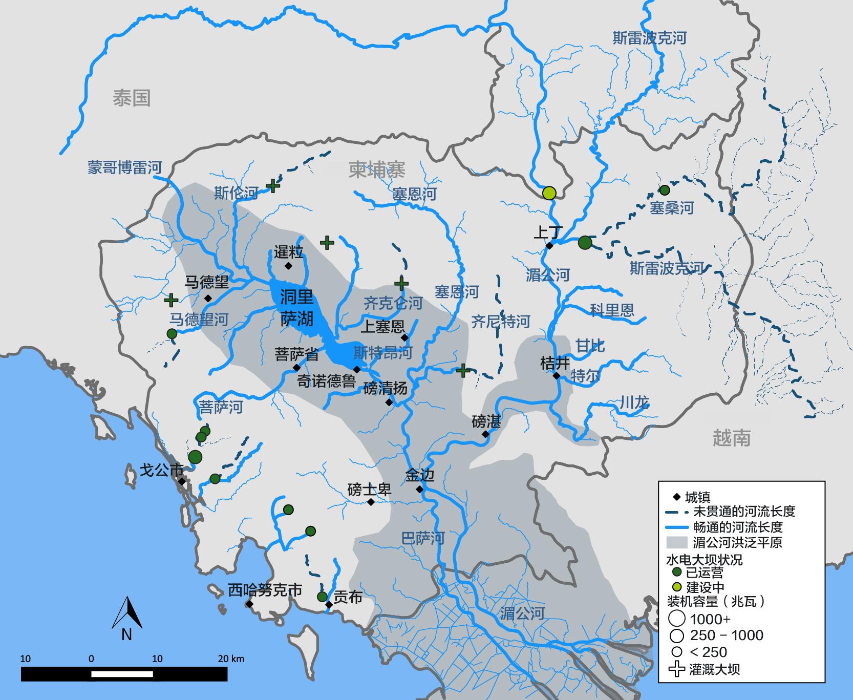 柬埔寨境内洞里萨湖和湄公河支流的互通性