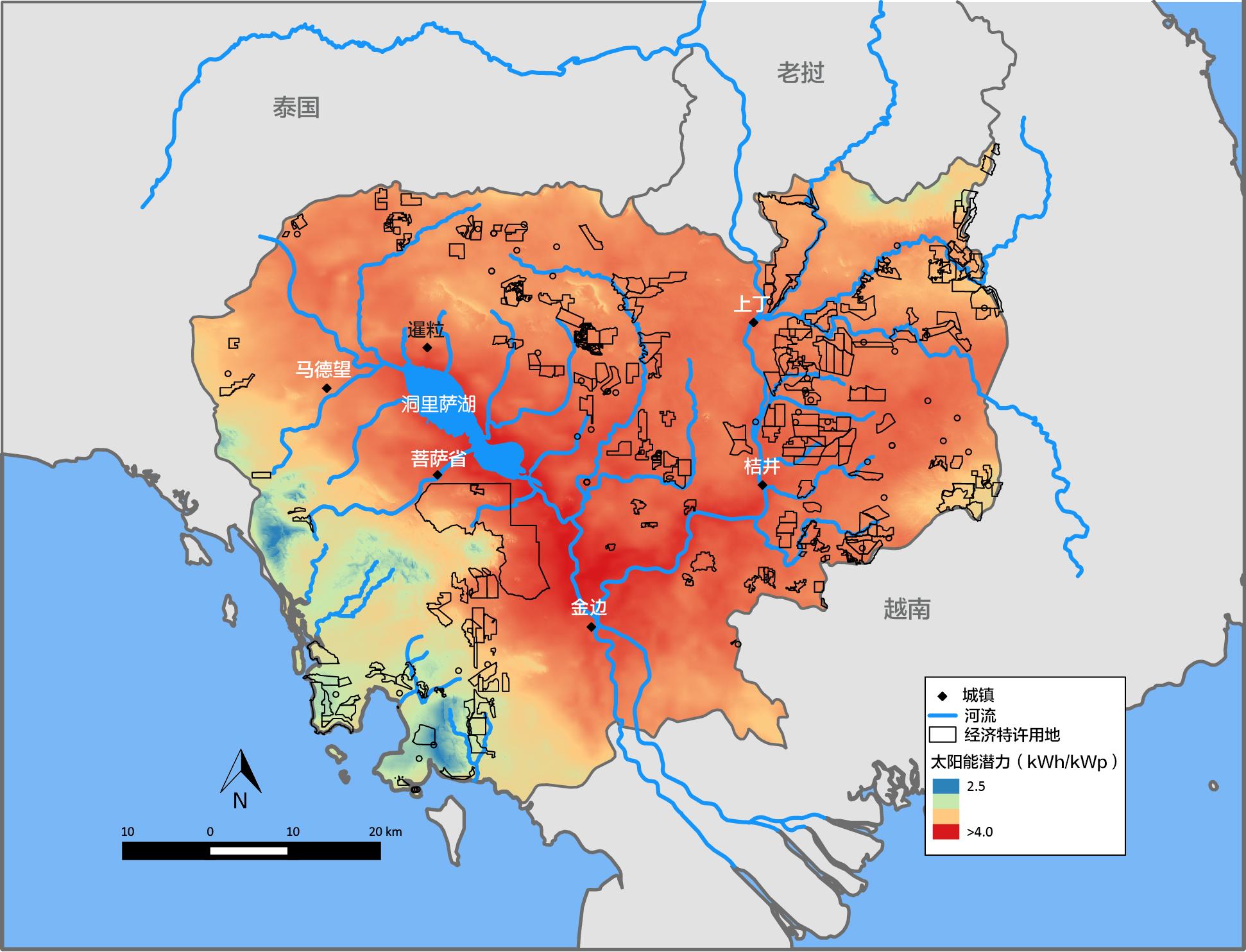 柬埔寨的经济特许用地和太阳能潜力
