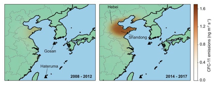 Atmospheric observations at Gosan and Hateruma monitoring stations showed an increase in CFC-11 emissions from China, primarily from Shandong, Hebei and surrounding provinces
