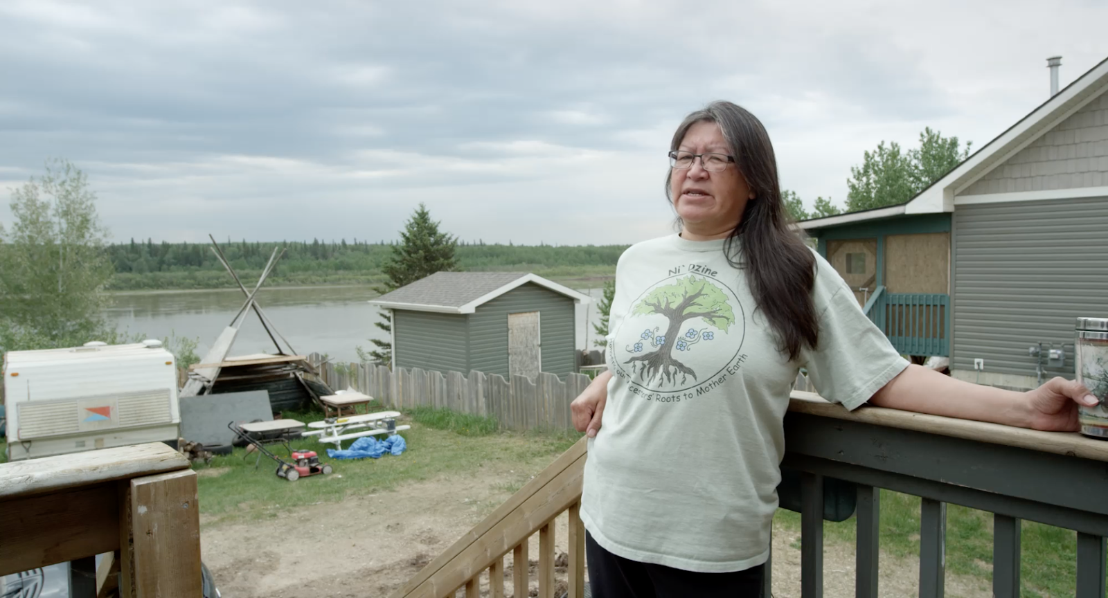 Jean L'Hommecourt of Fort Mckay, Alberta, interviewed in the documentary film Earth