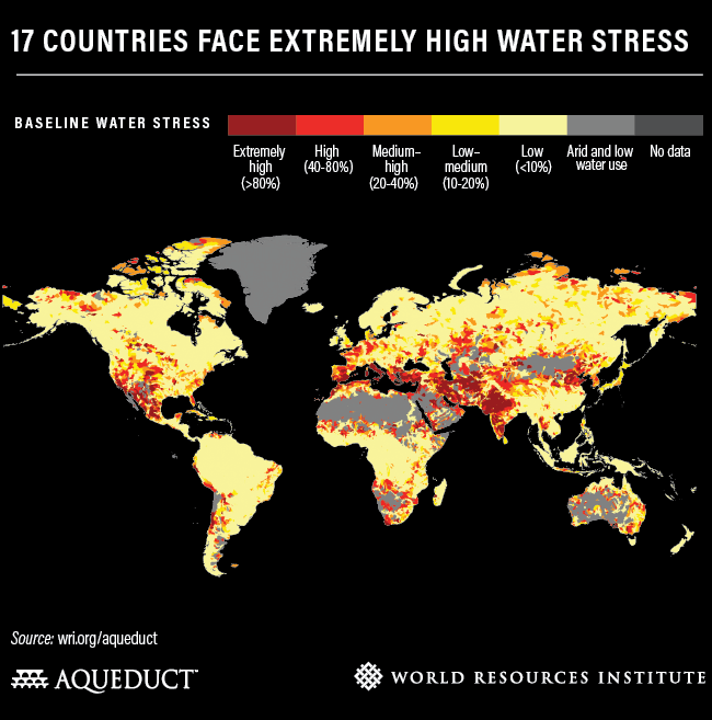 17 countires face extremely high water stress