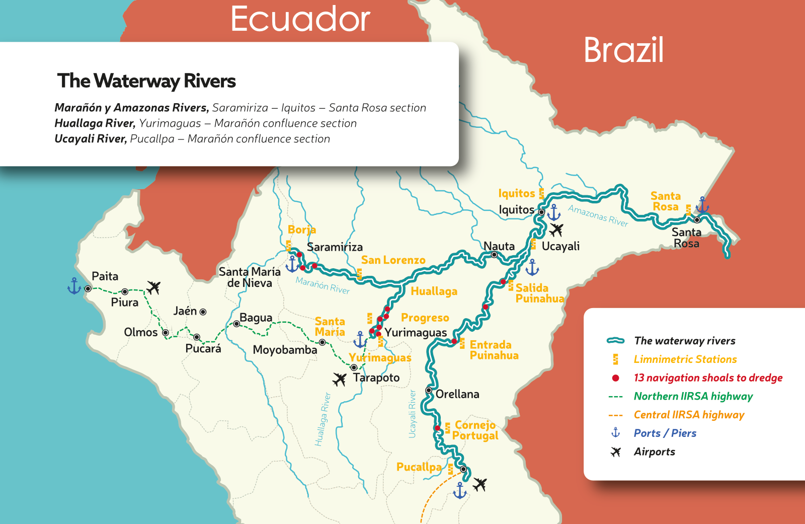 The Waterway Rivers in Amazon in Peru