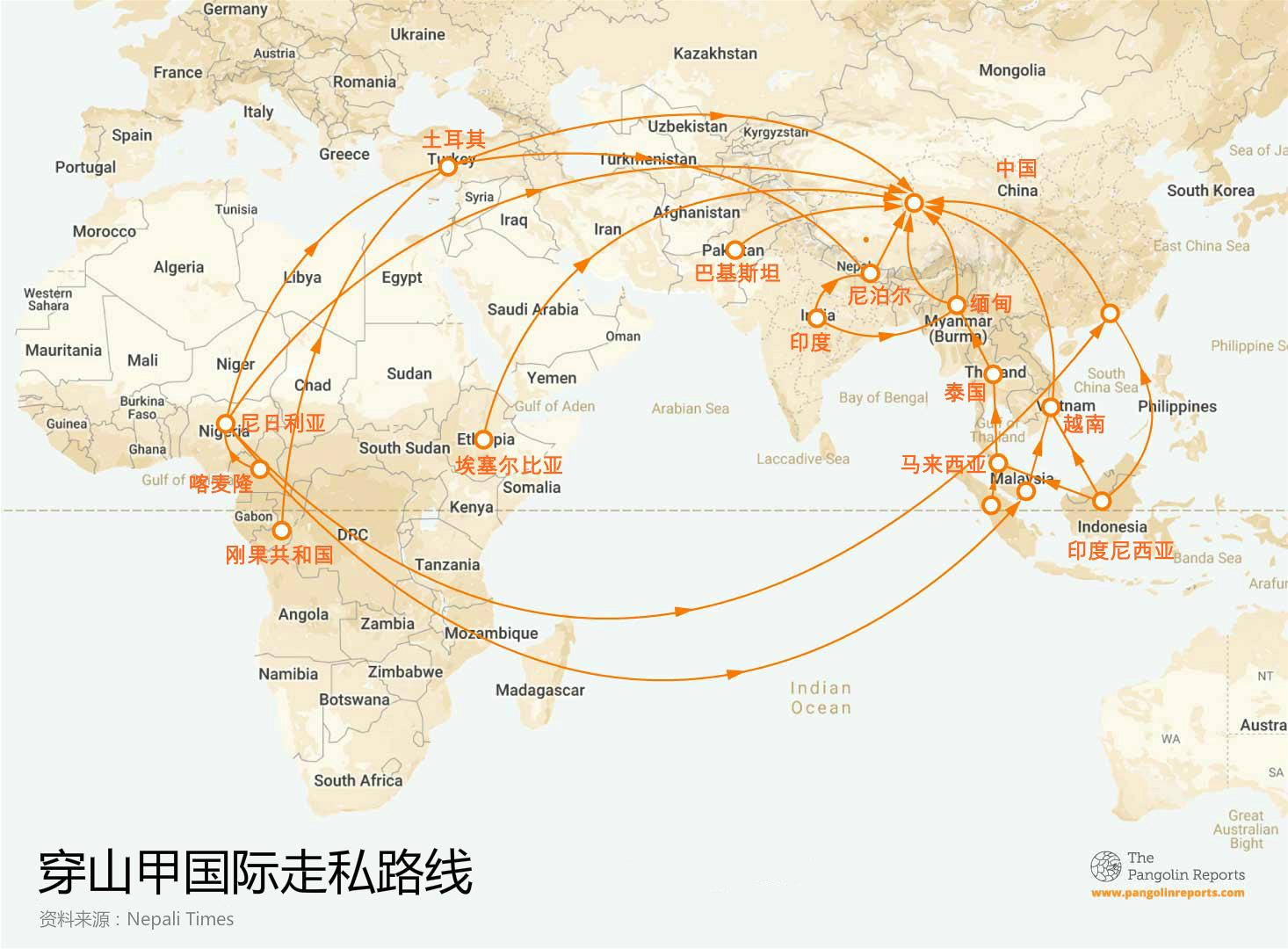 穿山甲国际走私路线图