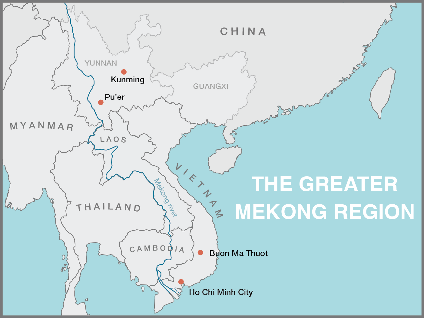 Greater mekong region map, mekong river map