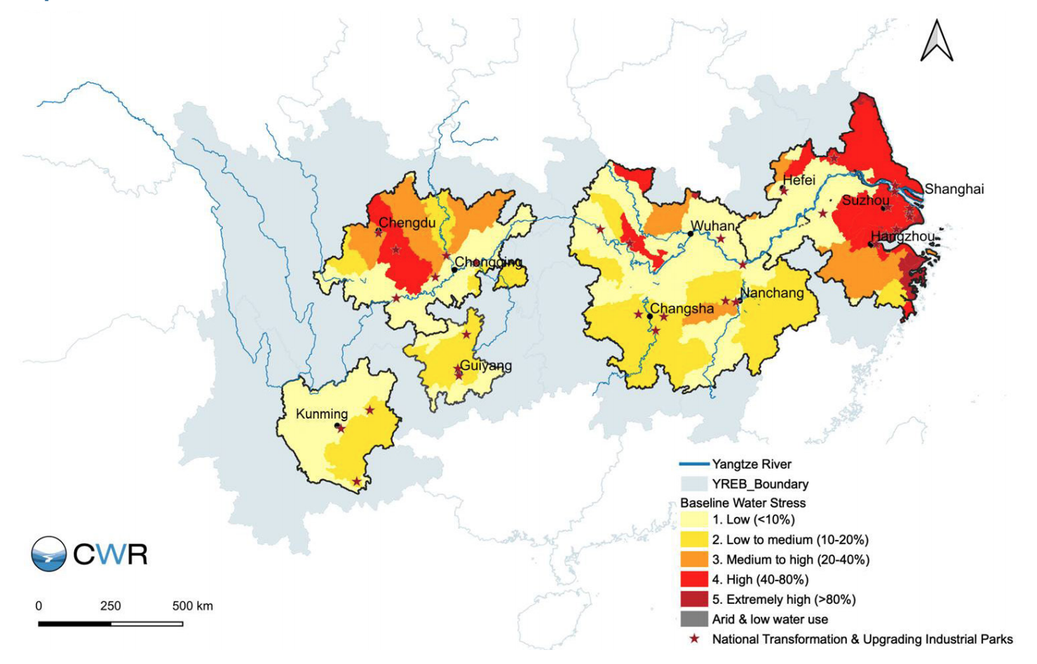 Half of Yangtze provinces are water stressed