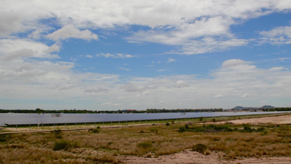 An 80-megawatt solar farm developed by SchneiTec in Cambodia's Kampon Speu province