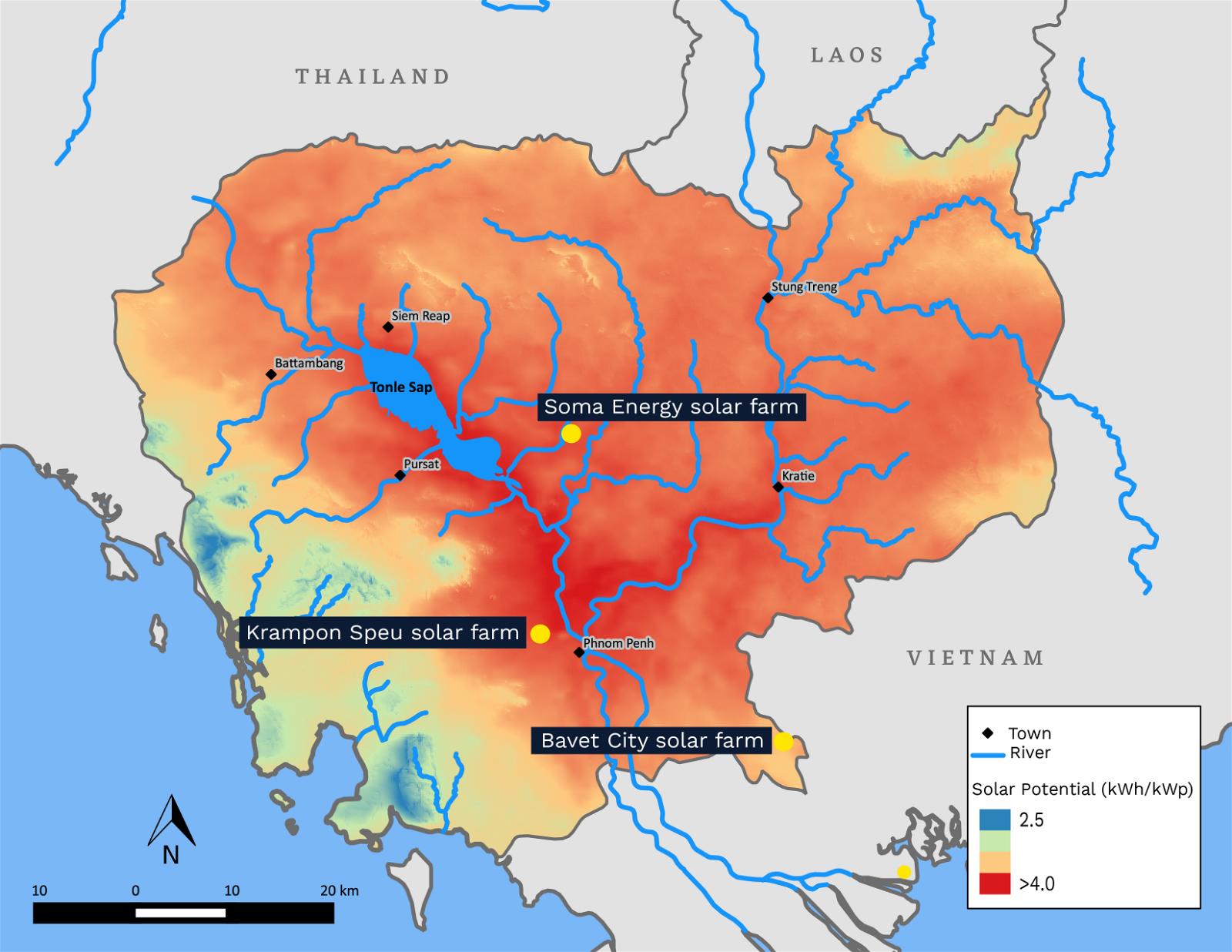 Cambodia's solar potential map