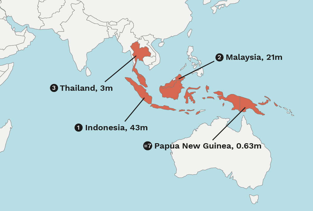 map of top 10 palm oil producing countries