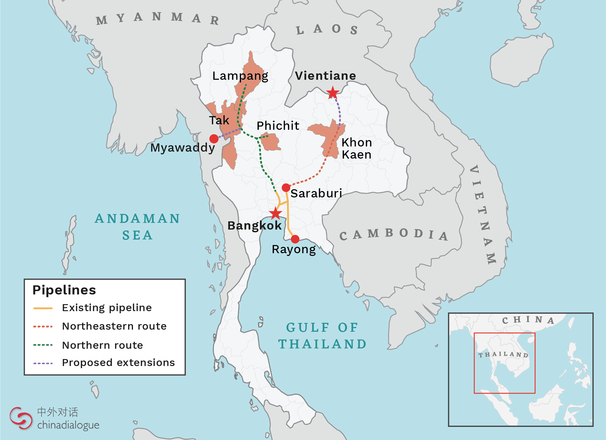 Thailand northern and northeastern oil pipeline extensions