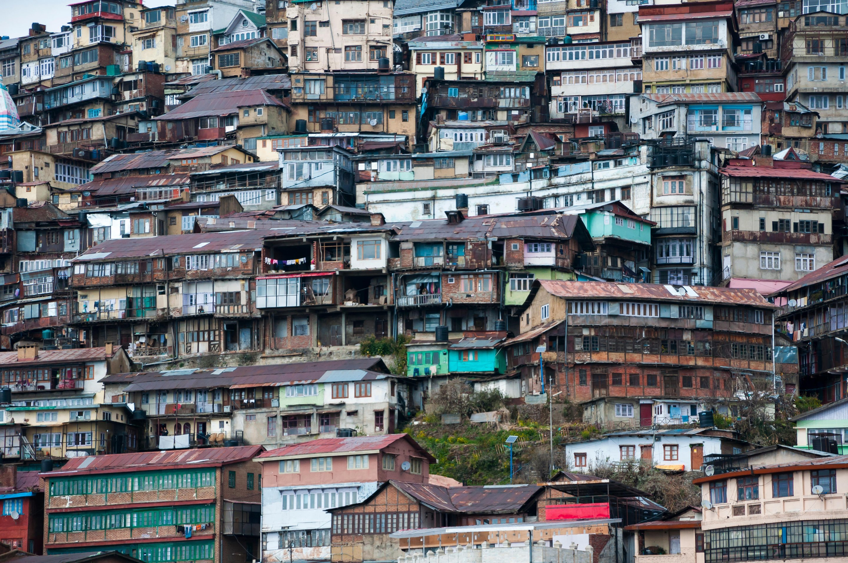 Crowded housing on the hillside in Shimla, Himachal Pradesh