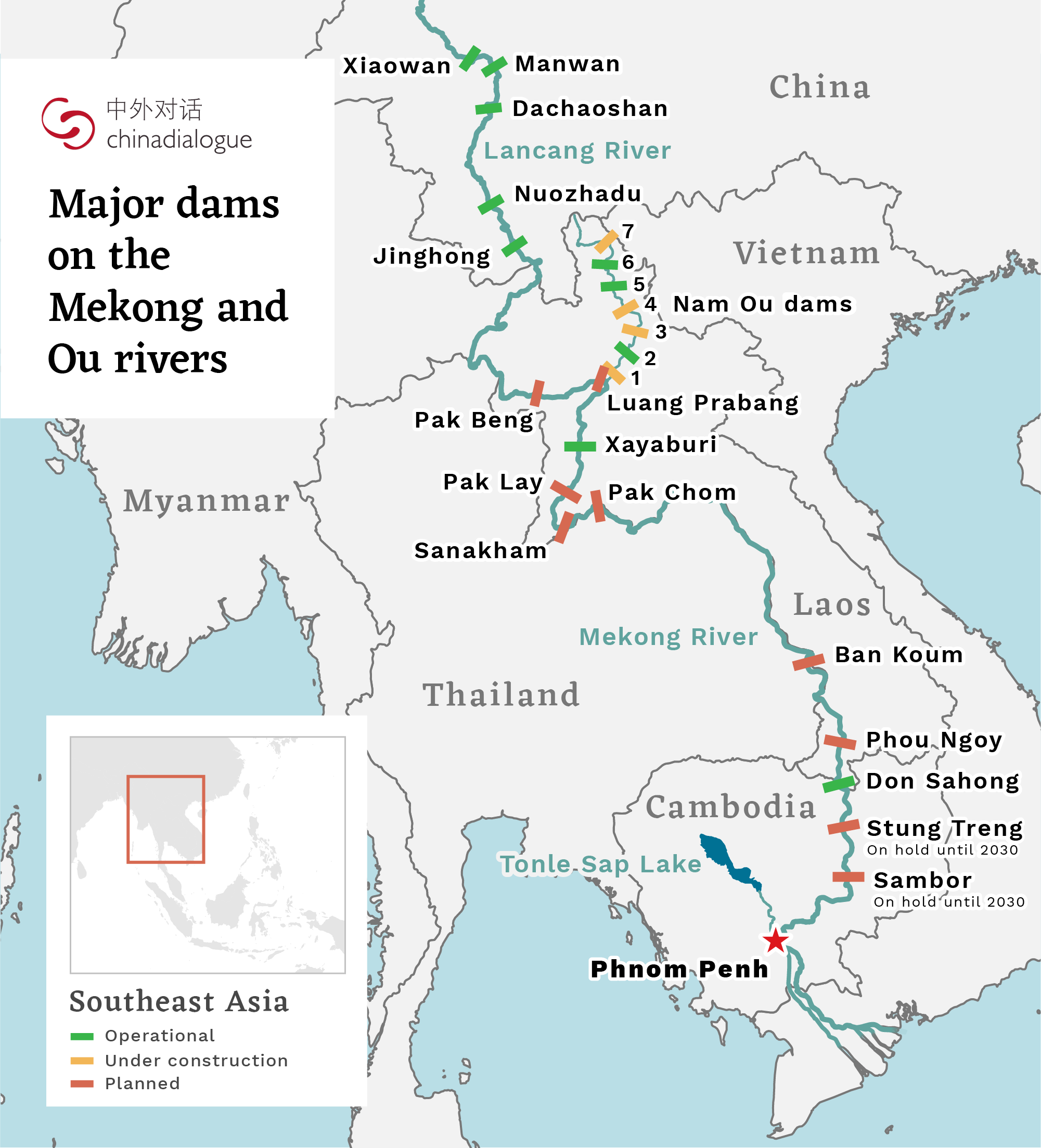 map of major dams on the mekong river and ou river