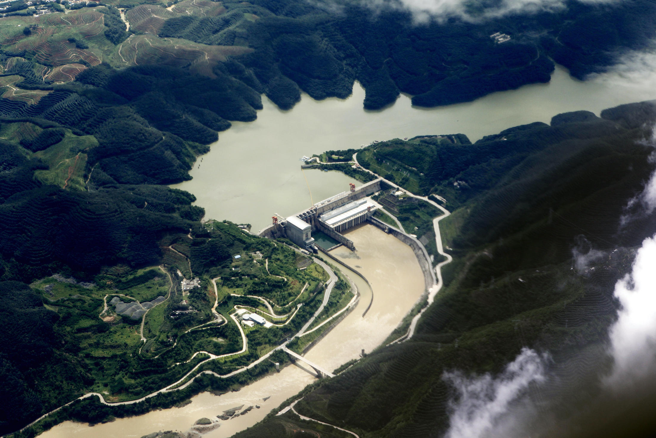 Aerial view of the dam at the Jinghong Hydropower Station, China