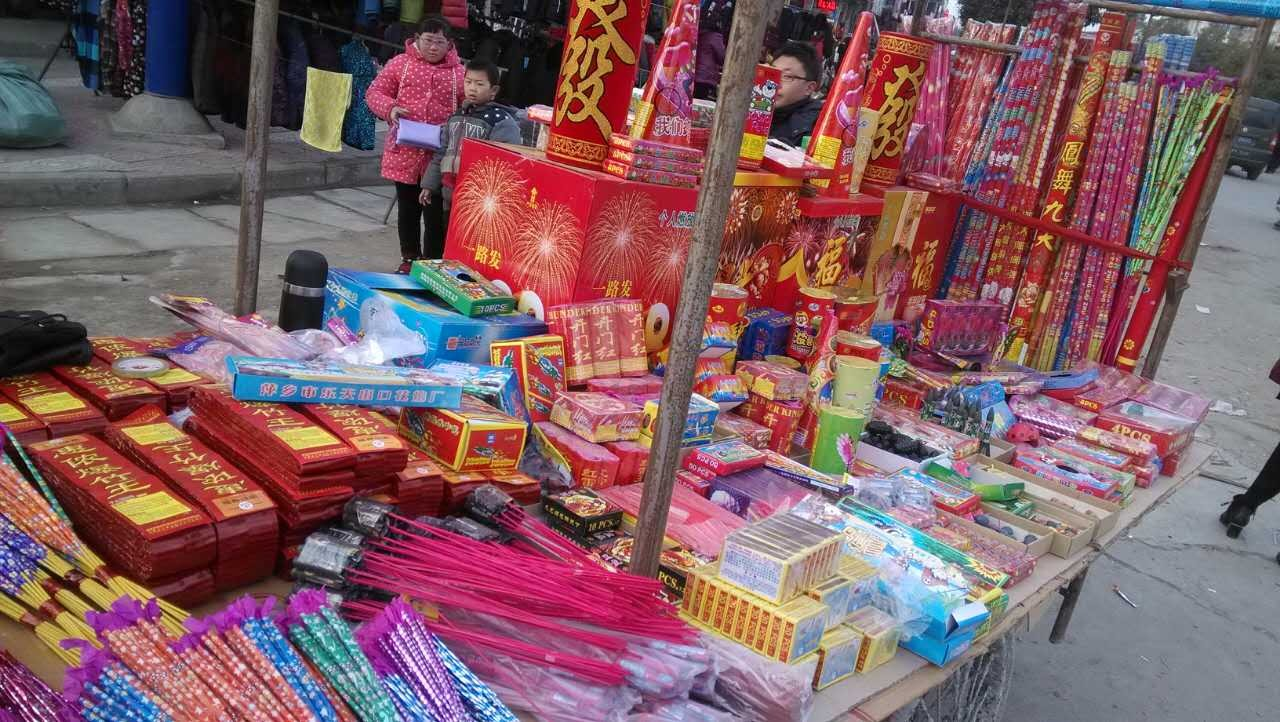 fireworks being sold at a market