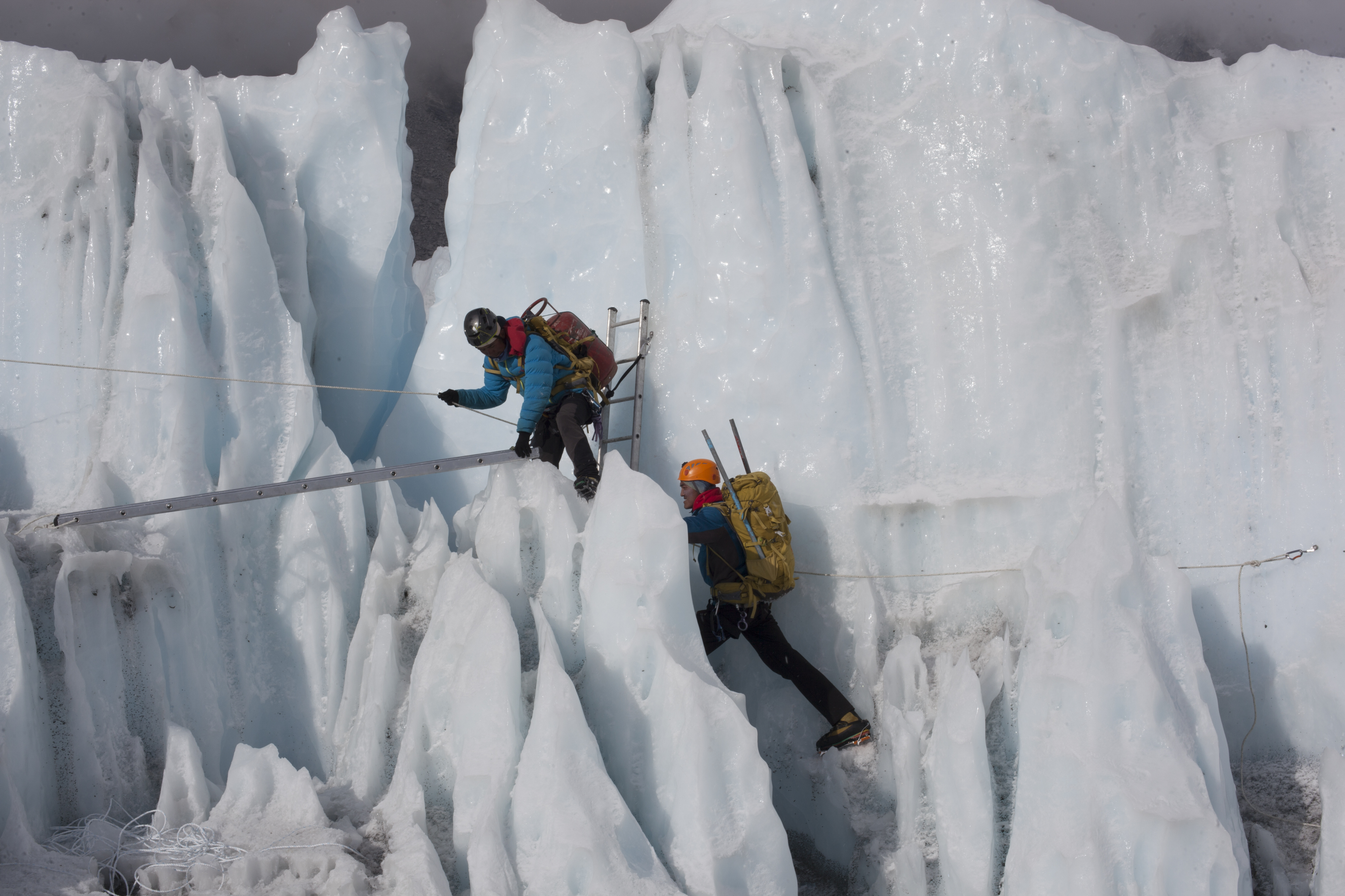 Sherpas training in the treacherous Khumbu Icefall